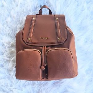 Brown Calvin Klein Backpack Purse NWT